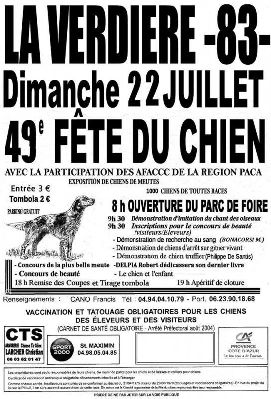 fete du chien de la verdière association de defense des chasses traditionnelles à la grive andctg